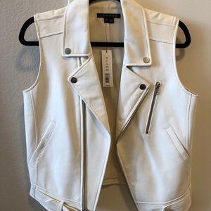 NWT Theory Ivory Lambskin Leather Vest Jacket XS
